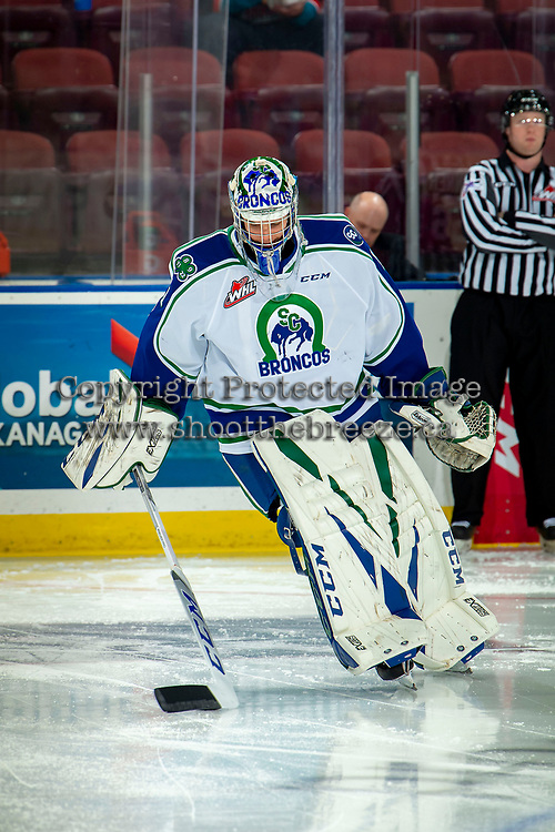 KELOWNA, BC - OCTOBER 16:  Isaac Poulter #1 of the Swift Current Broncos warms up against the Kelowna Rockets at Prospera Place on October 16, 2019 in Kelowna, Canada. (Photo by Marissa Baecker/Shoot the Breeze)