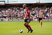David McGoldrick of Sheffield United during the Premier League match between Sheffield United and Crystal Palace at Bramall Lane, Sheffield, England on 18 August 2019.