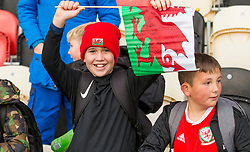 NEWPORT, WALES - Tuesday, November 19, 2019: A young spectator waves a flag after the UEFA Under-19 Championship Qualifying Group 5 match between Kosovo and Wales at Rodney Parade where Wales won 2-0. (Pic by Laura Malkin/Propaganda)