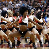 21 January 2012: Miami Heat dancers perform during the Miami Heat 113-92 victory over the Philadelphia Sixers at the AmericanAirlines Arena, Miami, Florida, USA.