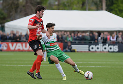 NEWTOWN, WALES - Saturday, May 2, 2015: The New Saints' Aeron Edwards in action against Newtown during the FAW Welsh Cup final match at Latham Park. (Pic by Ian Cook/Propaganda)