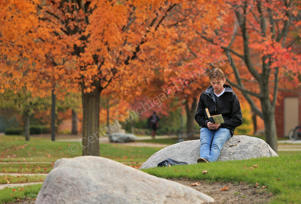 Tyler Thomas, a senior from Port Huron, reads a book on Zen as he is surrounded by an end of the fall color display on the campus of Central Michigan University on Tuesday November 5, 2013. Central Michigan University photo by Steve Jessmore