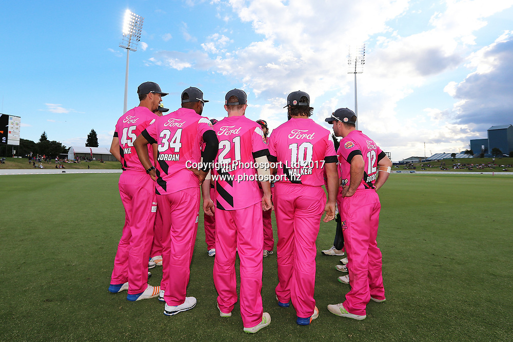 The Knights team huddle at the start of the Burger King Super Smash Twenty20 cricket match Knights v Stags played at Bay Oval, Mount Maunganui, New Zealand on Wednesday 27 December 2017.<br /> <br /> Copyright photo: © Bruce Lim / www.photosport.nz