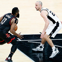 01 May 2017: San Antonio Spurs guard Manu Ginobili (20) defends on Houston Rockets guard James Harden (13) during the Houston Rockets 126-99 victory over the San Antonio Spurs, in game 1 of the Western Conference Semi Finals, at the AT&T Center, San Antonio, Texas, USA.