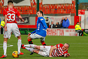 Ranger Andy Halliday looses out to Hamiltons Darian MacKinnon during the Ladbrokes Scottish Premiership match between Hamilton Academical FC and Rangers at The Hope CBD Stadium, Hamilton, Scotland on 24 February 2019.