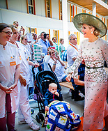 UTRECHT - Koningin Maxima tijdens de opening van het Prinses Maxima Centrum voor Kinderoncologie. <br /> 5-6-2018 UTRECHT - Queen Maxima will officially open the Princess Máxima Center for Pediatric Oncology in Utrecht on Tuesday June 5, 2018.<br /> Together with patients, Queen Máxima opens the new building of the Princess Máxima Center. After the opening a program follows with speeches and music and she is given a tour of the building. In the center all care and research for children with cancer is concentrated. The building has special facilities for children and parents, such as parent-child rooms where parents and children can be close to each other day and night and at the same time both have their own space with facilities. Since 2014, the Princess Máxima Center has provided care to children with certain forms of cancer and since 2016 the center carries out its own research.ROBIN UTRECHT