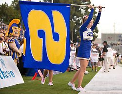 October 10, 2009; San Jose, CA, USA;  A San Jose State Spartans cheerleader carries a flag in the end zone after a touchdown against the Idaho Vandals during the second quarter at Spartan Stadium.  Idaho won 29-25.