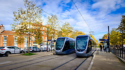 Toulouse trams at the Palais de Justice in Toulouse, France<br /> <br /> (c) Andrew Wilson | Edinburgh Elite media