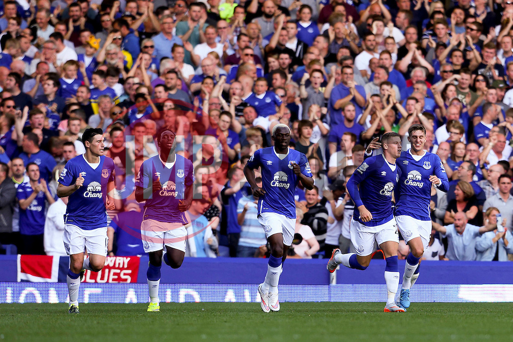 Everton's Ross Barkley celebrates after scoring his sides first goal to make it 1-1 - Mandatory byline: Matt McNulty/JMP - 07966386802 - 08/08/2015 - FOOTBALL - Goodison Park -Liverpool,England - Everton v Watford - Barclays Premier League