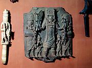 Benin bronze; plaque of warrior chief of the Bini tribe, Benin, Nigeria. British Museum