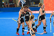 Charlotte Stapenhorst (red hair band) of Germany (12) scores a goal (3-1) and celebrates with team mates during the Vitality Hockey Women's World Cup 2018 Pool C match between Germany and Argentina at the Lee Valley Hockey and Tennis Centre, QE Olympic Park, United Kingdom on 25 July 2018. Picture by Martin Cole.