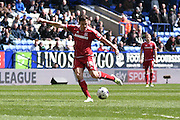 Middlesbrough Midfielder, Stewart Downing shoots during the Sky Bet Championship match between Bolton Wanderers and Middlesbrough at the Macron Stadium, Bolton, England on 16 April 2016. Photo by Mark Pollitt.
