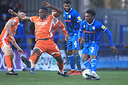 Kgosi Nthle shot leads to Rochdale's 2nd goal during the EFL Sky Bet League 1 match between Rochdale and Shrewsbury Town at Spotland, Rochdale, England on 9 March 2019.