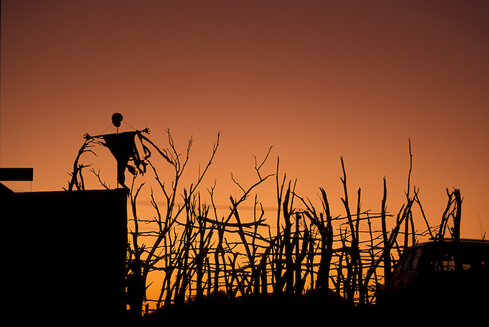 Australia, South Australia, Silhouette of eerie steel sculpture under a twilight desert sky in town of Coober Pedy