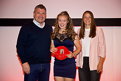 NEWPORT, WALES - Saturday, May 19, 2018: Jasmine Simpson is presented with her Under-16's cap by Osian Roberts (left) and Lauren Dykes (right) during the Football Association of Wales Under-16's Caps Presentation at the Celtic Manor Resort. (Pic by David Rawcliffe/Propaganda)