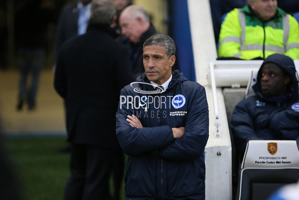 Brighton Manager, Chris Hughton during the Sky Bet Championship match between Brighton and Hove Albion and Wolverhampton Wanderers at the American Express Community Stadium, Brighton and Hove, England on 1 January 2016.