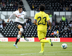 Derby County's George Thorne shoots - Mandatory by-line: Robbie Stephenson/JMP - 07966386802 - 29/07/2015 - SPORT - FOOTBALL - Derby,England - iPro Stadium - Derby County v Villarreal CF - Pre-Season Friendly