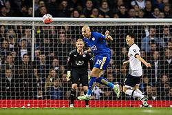 Yohan Benalouane of Leicester City heads the ball away - Mandatory byline: Jason Brown/JMP - 07966386802 - 10/01/2016 - FOOTBALL - White Hart Lane - London, England - Tottenham v Leicester City - The Emirates FA Cup