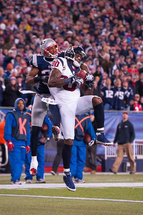 FOXBORO, MA - JANUARY 13: Andre Johnson #80 of the Houston Texans makes a catch against the New England Patriots during the AFC Divisional Playoff against the Houston Texans at Gillette Stadium on January 13, 2013 in Foxboro, Massachusetts.(Photo by Rob Tringali) *** Local Caption *** Andre Johnson