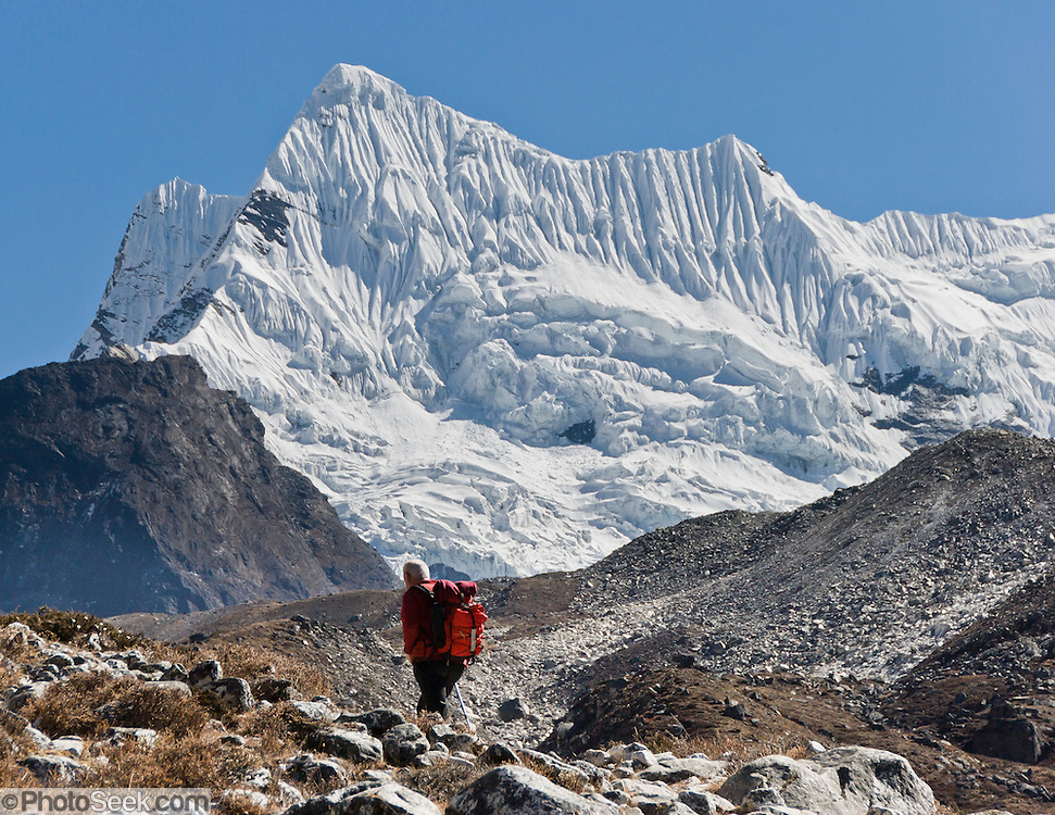 See Chhukhung Glacier from Chhukhung (or Chhukung, 15,520 feet or 4730 meters), a small cluster of trekker teahouses near the headwaters of the Imja Khola river, in Sagarmatha National Park, Nepal. Chhukhung is a supply point for climbers of nearby Island Peak (Imja Tse), Lhotse Shar, and other impressive mountains of the Eastern Himalaya. Sagarmatha National Park was created in 1976 and honored as a UNESCO World Heritage Site in 1979.