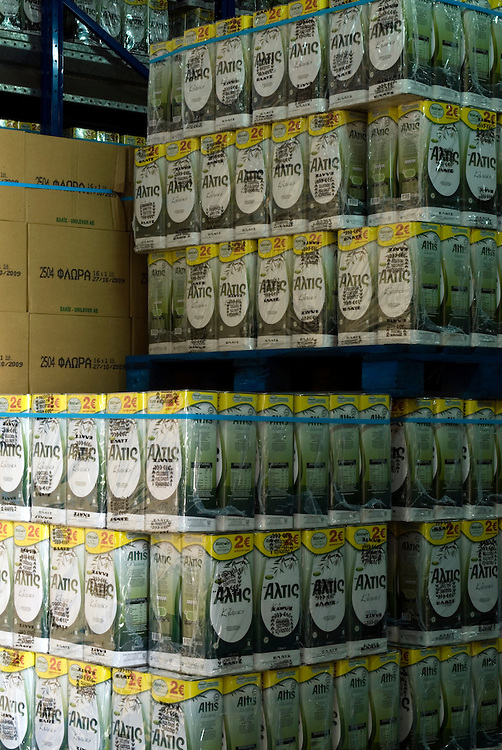 stacks of 5 litre olive oil containers at the warehouse