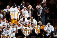 17 June 2010:  The Los Angeles Lakers celebrate after the Lakers defeat the Boston Celtics 83-79 and win the NBA championship in Game 7 of the NBA Finals at the STAPLES Center in Los Angeles, CA.