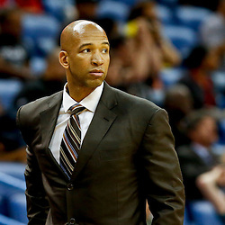 Mar 22, 2013; New Orleans, LA, USA; New Orleans Hornets head coach Monty Williams against the Memphis Grizzlies during the second half of a game at the New Orleans Arena. The Hornets defeated the Grizzlies 90-83.  Mandatory Credit: Derick E. Hingle-USA TODAY Sports