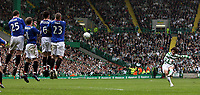 Photo: Paul Thomas.<br /> Glasgow Celtic v Glasgow Rangers. Bank of Scotland Scottish Premier League. 11/03/2007.<br /> <br /> Shunsuke Nakamura (R) of Celtic shoots over the Rangers wall.