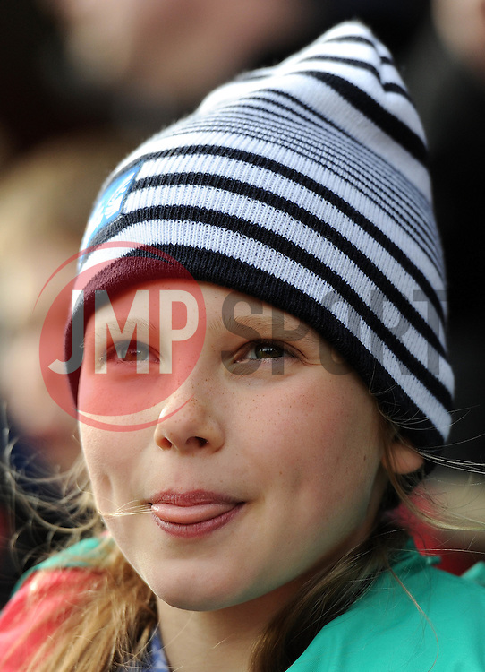 Bristol Rugby fan with a Bristol Rugby community foundation hat - Photo mandatory by-line: Dougie Allward/JMP - Mobile: 07966 386802 - 29/03/2015 - SPORT - Rugby - Bristol - Ashton Gate - Bristol Rugby v Bedford Blues - Greene King IPA Championship