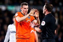 Murray Wallace of Millwall gestures to the referee - Mandatory by-line: Robbie Stephenson/JMP - 20/02/2019 - FOOTBALL - Pride Park Stadium - Derby, England - Derby County v Millwall - Sky Bet Championship