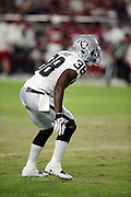 Oakland Raiders strong safety T.J. Carrie (38) makes a move during the 2016 NFL preseason football game against the Arizona Cardinals on Friday, Aug. 12, 2016 in Glendale, Ariz. The Raiders won the game 31-10. (©Paul Anthony Spinelli)