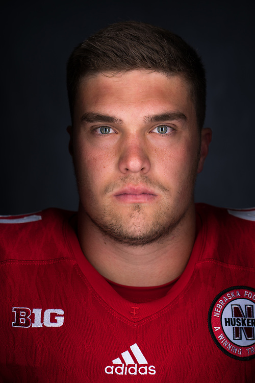 LUKE McNITT #41, during a portrait session at Memorial Stadium in Lincoln, Neb. on June 7, 2017. Photo by Paul Bellinger, Hail Varsity