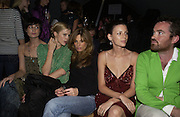Erin O'Connor, Laura Bailey and Jemima Khan, Topshop Fashion Show and party. Berkeley Sq. London. 19  September 2005. ONE TIME USE ONLY - DO NOT ARCHIVE © Copyright Photograph by Dafydd Jones 66 Stockwell Park Rd. London SW9 0DA Tel 020 7733 0108 www.dafjones.com