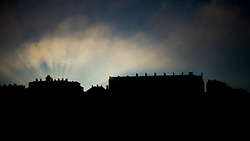 © Licensed to London News Pictures. 22/10/2012..Saltburn, Cleveland, England..A heavy sea fret rolls in over the North East coastal town of Saltburn by the Sea in Cleveland and is backlit by sunlight as it sits over the famous Zetland Hotel...Photo credit : Ian Forsyth/LNP