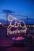 The MeetFactory logo on the roof of the building. MeetFactory is a non-for-profit international center for contemporary art.