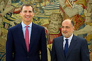 King Felipe Vi of Spain attends an audience with Francisco Perez de los Cobos Orihuel, President of the Constitutional Court at Zarzuela Palace on June 23, 2014 in Madrid