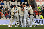 Wicket - Pat Cummins of Australia celebrates taking the wicket of Joe Denly of England during the International Test Match 2019, fourth test, day two match between England and Australia at Old Trafford, Manchester, England on 5 September 2019.