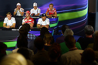 The FIA Press Conference (from back row (L to R): Kevin Magnussen (DEN) McLaren; Valtteri Bottas (FIN) Williams; Max Chilton (GBR) Marussia F1 Team; Nico Rosberg (GER) Mercedes AMG F1; Fernando Alonso (ESP) Ferrari; Lewis Hamilton (GBR) Mercedes AMG F1.<br /> Italian Grand Prix, Thursday 4th September 2014. Monza Italy.