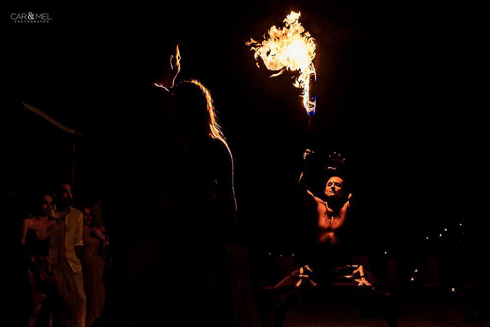 Britney & Devon during the fire dance at Las Caletas Puerto Vallarta, Mexico.