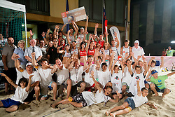 Players and volunteers after the final matches of Slovenian National Championship in beach volleyball Kranj 2012, on June 30, 2012 in Kranj, Slovenia. (Photo by Vid Ponikvar / Sportida.com)