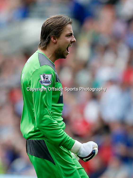 5th October 2013- Barclays Premier League - Cardiff City Vs Newcastle United - Newcastle United keeper Tim Krul celebrates Loic Remy 2nd goal (0-2)  - Photo: Paul Roberts / Offside.