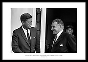 President Kennedy leaving the U.S. Emabssy in Dublin after talks with An Taoiseach Seán Lemass.  The President then left for a visit to his ancestral home in Wexford.<br />