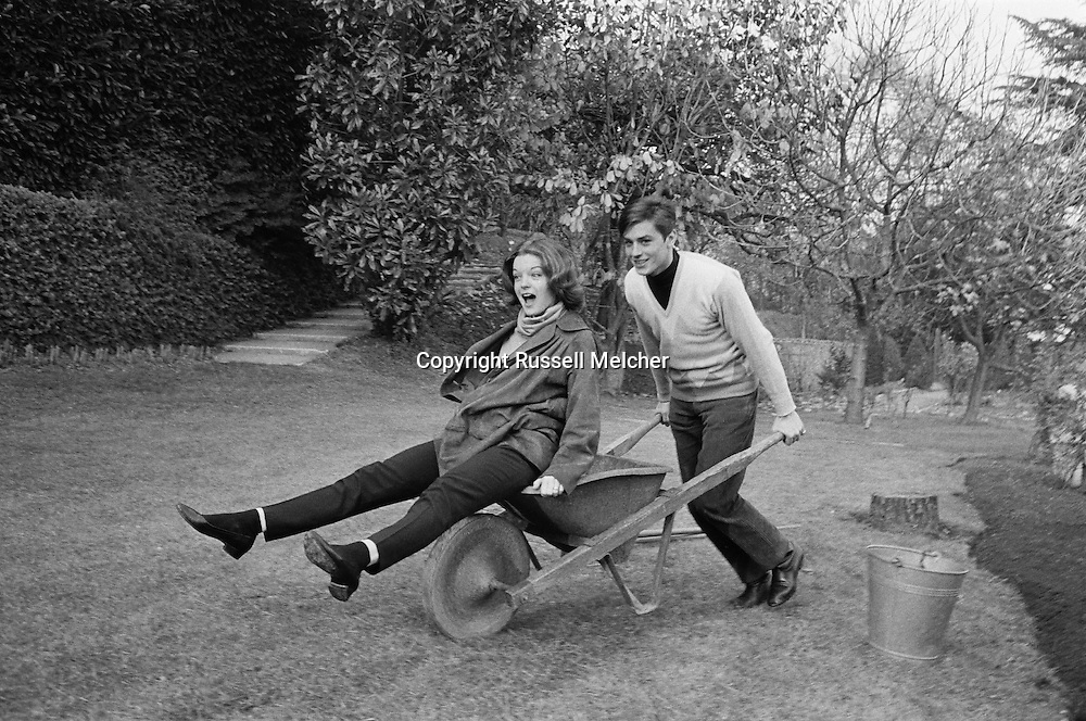 1959. Lake Lugano in Switzerland. Romy Schneider, Austrian actress and Alain Delon, French actor, spend the weekend at Romy's mother's house.<br />