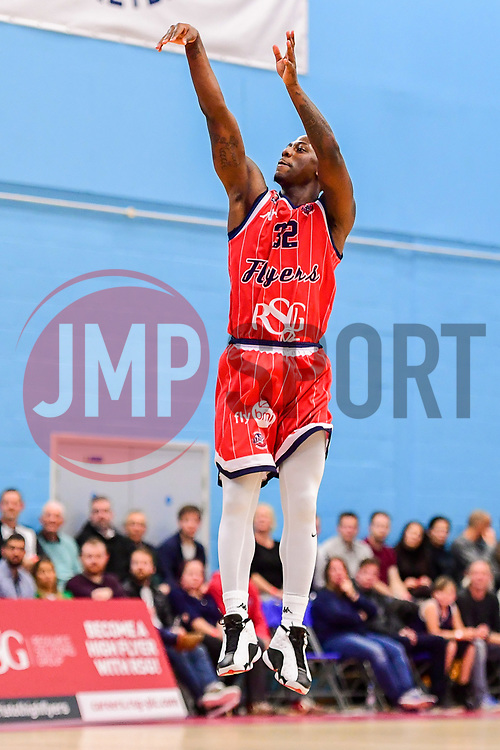 Jalan McCloud of Bristol Flyers shoots a three pointer - Photo mandatory by-line: Ryan Hiscott/JMP - 03/11/2018 - BASKETBALL - SGS Wise Arena - Bristol, England - Bristol Flyers v Newcastle Eagles - British Basketball League Championship
