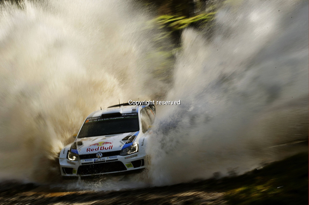 14.09.2014. Coffs Harbour, NSW, Australia.  Andreas Mikkelsen (N), Ola Fl¯ene (FIN) Volkswagen Polo end in 3rd place in the WRC Rally Australia
