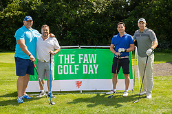 CARDIFF, WALES - Tuesday, August 13, 2019: Craig Quinnell, Pete Leckie, James Hughes and Tom Shanklin during the Football Association of Wales' Golf Day at the Vale Resort. (Pic by Mark Hawkins/Propaganda)
