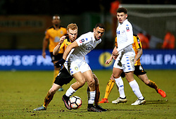 Kemar Roofe of Leeds United takes on Conor Newton of Cambridge United - Mandatory by-line: Robbie Stephenson/JMP - 09/01/2017 - FOOTBALL - Cambs Glass Stadium - Cambridge, England - Cambridge United v Leeds United - FA Cup third round