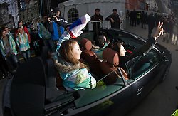 Slovenian 2-times silver medalist alpine skier Tina Maze and her coacjh Andrea Massi at reception at Preseren's square when she came from Vancouver after Winter Olympic games 2010, on February 28, 2010 in Center of Ljubljana, Slovenia. (Photo by Vid Ponikvar / Sportida)