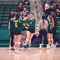 2nd year outside hitter, Jessica Lerminiaux (12) of the Regina Cougars during the Women's Volleyball home game on Sat Jan 19 at Centre for Kinesiology, Health & Sport. Credit: Arthur Ward/Arthur Images