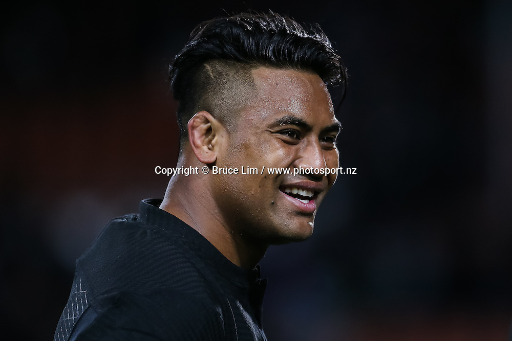 All Blacks winger Julian Savea is all smiles after the All Blacks comfortably win Round 3 of the Rugby Championship - New Zealand All Blacks v Argentina Pumas.  FMG Stadium Waikato, Hamilton, New Zealand. Saturday 10 September 2016. © Copyright Photo: Bruce Lim / www.Photosport.nz